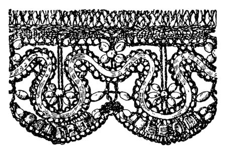 Old Point Lace Border  is a form of textile art, that has a combination of the conventional treatment, it's a delicate hand-work, vintage line drawing or engraving illustration. 向量圖像