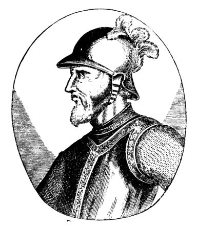 Bartholomew Columbus, c. 1461-1515, he was an Italian explorer from Genoa, vintage line drawing or engraving illustration