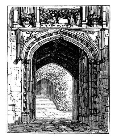 Gate of Merton College, Oxford, university, college, gateway, entrance, passage, door, vintage line drawing or engraving illustration