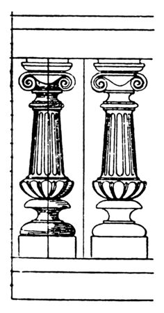 Modern Baluster is made of terracotta, balconies, attics, staircases, metal, vintage line drawing or engraving illustration. Illusztráció