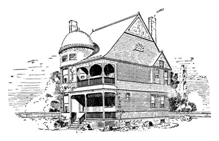 The Bay Ridge, apartment buildings, Stick Victorian Style house, dome, Intricate wooden, vintage line drawing or engraving illustration.
