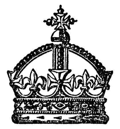 English Crown is a Antique crown, vintage line drawing or engraving illustration.