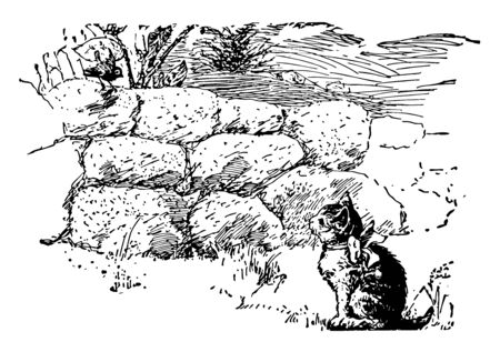 A cat with bow watching a bird, vintage line drawing or engraving illustration Ilustração