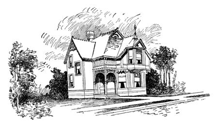 The Bennett, charming historic Bed, two-story building, King and queen accommodations, vintage line drawing or engraving illustration.