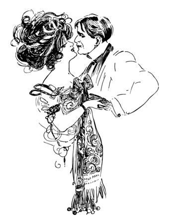 This is a man and woman embracing. They are in love with each others. A women has worn princess gown dress & man has worn prince coat, vintage line drawing or engraving illustration. Çizim