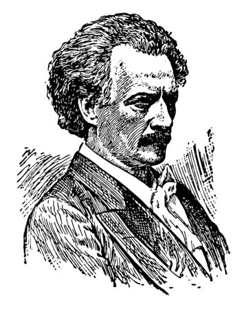 Ignace Paderewski, 1860-1941, he was a Polish pianist and composer, politician, statesman and spokesman for Polish independence, vintage line drawing or engraving illustration 矢量图像