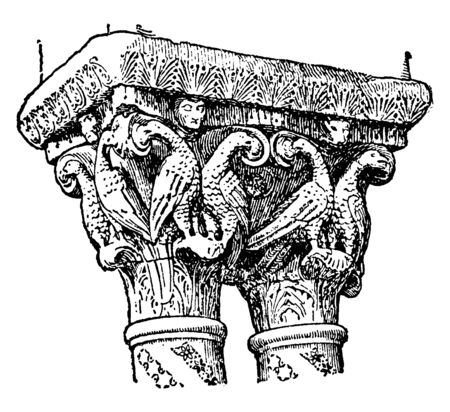 Romanesque Capitals, from the cloister of Monreale near Palermo, several traditions of architecture including Classical architecture, vintage line drawing or engraving illustration. Ilustração