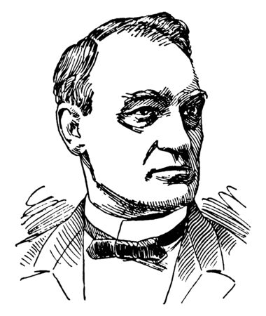 John G. Carlisle, 1834-1910, he was an American politician, the speaker of the U.S. house of representatives from 1883 to 1889, and secretary of the Treasury from 1893 to 1897, vintage line drawing or engraving illustration