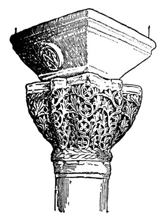 Byzantine Capitals, square, form, latter, circular, shaft, vintage line drawing or engraving illustration.