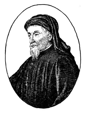 Geoffrey Chaucer, c. 1343-1400, he was famous English poet, author, philosopher, and astronomer, famous as Father of English literature, vintage line drawing or engraving illustration Foto de archivo - 133023966