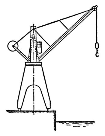 Hydraulic Dockside Jib Crane, used inside workshops, the tallest tower cranes, used for constructing high buildings,  vintage line drawing or engraving illustration. Иллюстрация