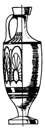 Greek Lekythos  is made of red clay and painted in black, it is elongated and cylindrical, vintage line drawing or engraving illustration.