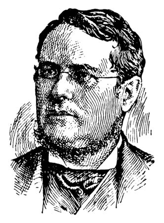 Hon. Edward Blake, 1833-1912, he was Canadian statesman, the second premier of Ontario, and leader of the liberal party of Canada, vintage line drawing or engraving illustration