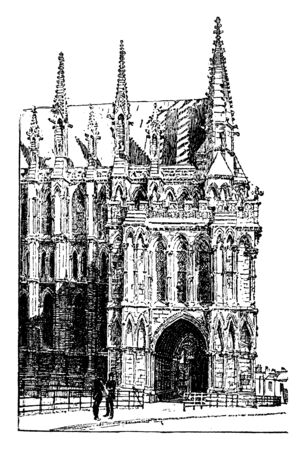 Lincoln Cathedral, cathedral church of the blessed virgin Mary of Lincoln, early English architecture, England, Gothic architecture, Lincoln cathedral, medieval architecture, St. Marys cathedral, vintage line drawing or engraving illustration. Ilustrace
