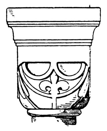 Romanesque Cushion Capital, a design found in a monastery in Lippoldsberg, The design is a half sphere, cut by planes below and on the four sides, vintage line drawing or engraving illustration.