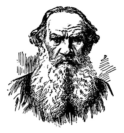 Lyoff Tolstoi, 1828-1910, he was a Russian author,  famous for war and peace, vintage line drawing or engraving illustration Illusztráció