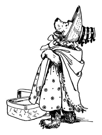 Mama Bear is dressed up to go out, this picture shows Bear is dressed up to go out, prepared with her hat, shawl, and basket, vintage line drawing or engraving illustration