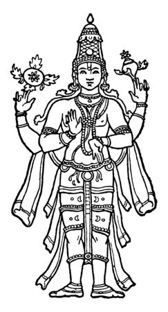 In this image, a form of Lord Vishnu is called the name of him Narayan. Lord Narayana is the highest place in Hinduism, vintage line drawing or engraving illustration.