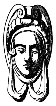Carved Bench Grotesque Mask is a mask design carved on a bench in Bargello, vintage line drawing or engraving illustration.