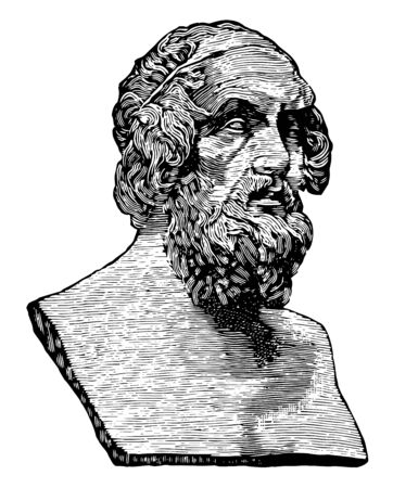 Bust of Homer, he was an ancient Greek poet who wrote the Iliad and the Odyssey, vintage line drawing or engraving illustration Ilustracja