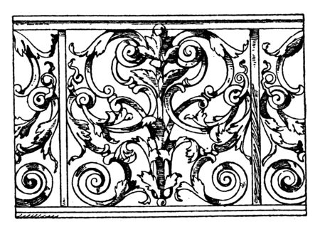 Trellis Parapet is a French Barocco design, top of the front glass, rows of balausters, vintage line drawing or engraving illustration.