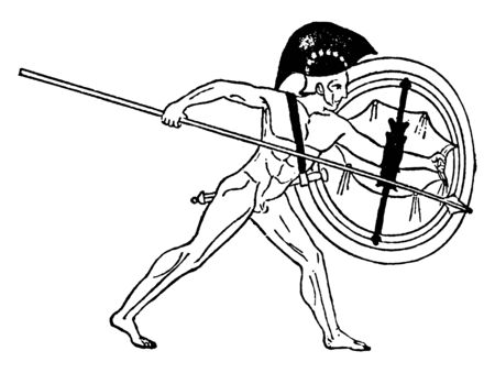 In this image there is a large shield and a spear in the hands of a man, vintage line drawing or engraving illustration.