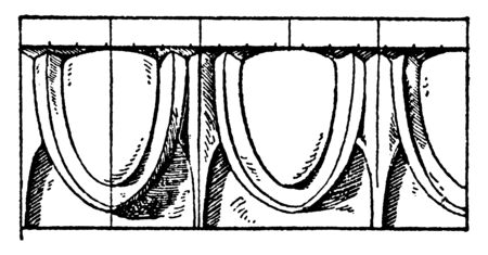 Greek Egg-and-Tongue Moulding is an egg pattern, element shaped, wood and stone or plaster, vintage line drawing or engraving illustration.