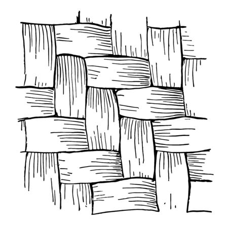 Twill Work Basket Weave, le style de tissage commun dans les paniers et consiste à faire passer chaque attelle de la trame sur deux ou plusieurs attelles de la chaîne, vintage dessin ou gravure illustration.