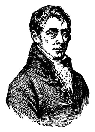 Sir Humphrey Davy, 1778-1829, he was a Cornish chemist and inventor, famous  for his discoveries of several alkali and alkaline earth metals, vintage line drawing or engraving illustration Illustration