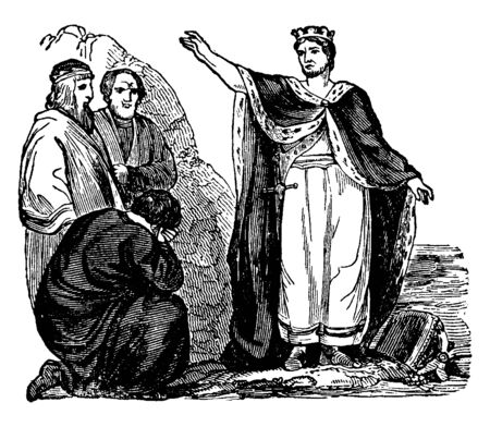 Canute and followers, Canute was the king of Denmark, England and Norway, vintage line drawing or engraving illustration
