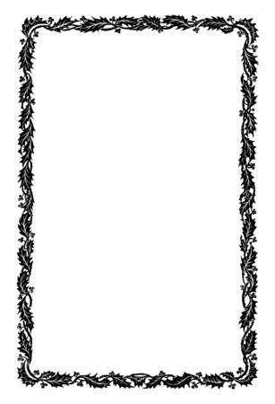 Holly Border have simple narrow pattern, vintage line drawing or engraving illustration.