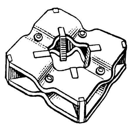 This illustration represents how to used Screw Cutting Die set, vintage line drawing or engraving illustration.