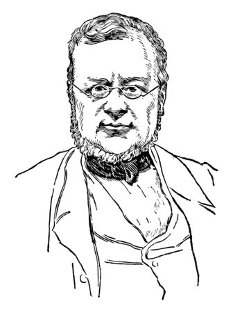 Count Cavour, 1810-1861, he was an Italian statesman and a leading figure in the movement toward Italian unification, first prime minister of Italy and prime minister of Sardinia, vintage line drawing or engraving illustration Çizim