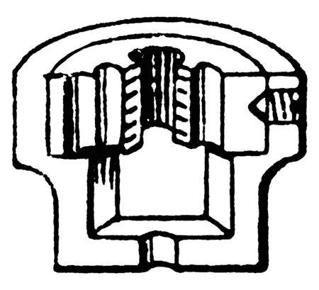 This illustration represents various section of Screw Die, vintage line drawing or engraving illustration.