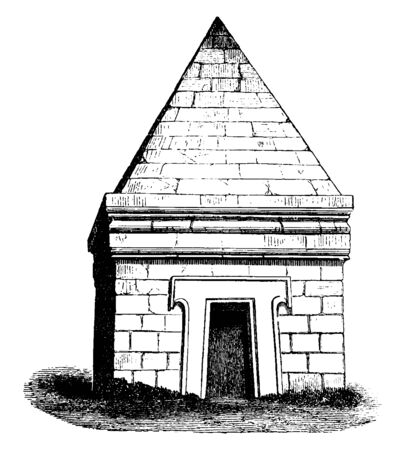 Etruscan Tomb at Castel dAsso, The most interesting monuments of Etruscan architecture, main part chambers hewn in the rock,  a pyramidal superstructure, vintage line drawing or engraving illustration. Ilustrace