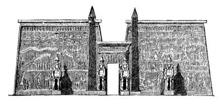 Pylon at the Palace at Luxor, Amun, Chons, Egyptian architecture, Egyptian entrance, gateway, Luxor temple, Mut,  southern harem, vintage line drawing or engraving illustration.