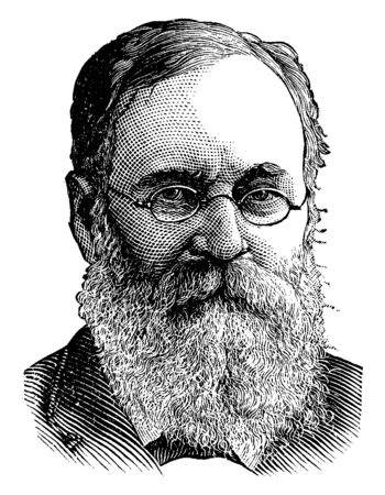 Charles A. Dana, 1819-1897, he was an American journalist, author, and senior government official, famous for editing The New American Cyclopaedia, vintage line drawing or engraving illustration