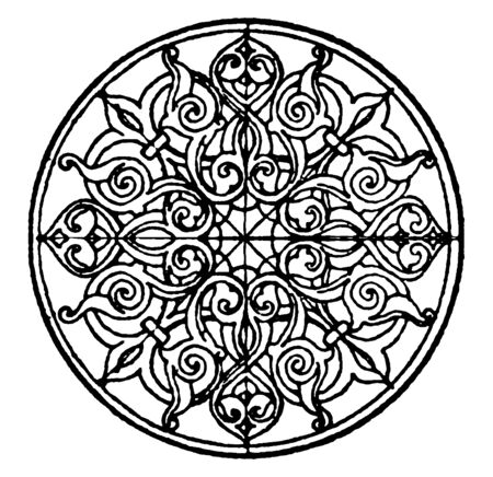 Arabian Circular Panel was found in a Mosque, vintage line drawing or engraving illustration.