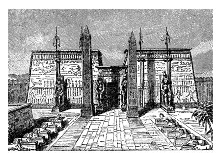 Luxor Temple, large Ancient Egyptian temple, complex located, Egyptian language, the southern harem, vintage line drawing or engraving illustration.