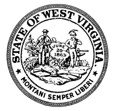 The Seal of the State of West Virginia, this seal has  guns & cornstalk, two men standing on either side of rock inscribed with date JUNE  20 1863, men holding axe, plow, pickaxe,  vintage line drawing or engraving illustration Vectores
