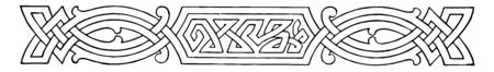 Celtic Divider is a intertwining knots pattern, vintage line drawing or engraving illustration.