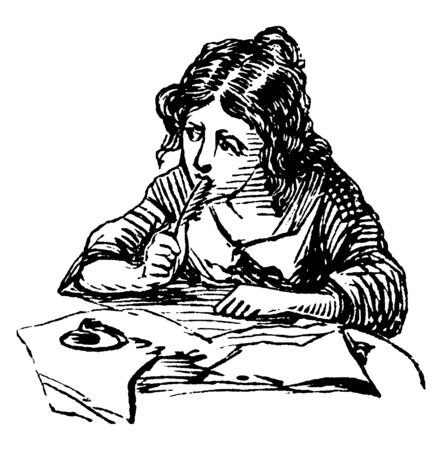 Girl Writing or pen rested against her face, Diary, women writers, vintage line drawing or engraving illustration. Illustration