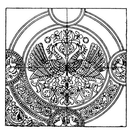 Medieval Textile Pattern is a richly embroidered French silk tapestry, It is a 15th century design that includes organic elements, vintage line drawing or engraving illustration.
