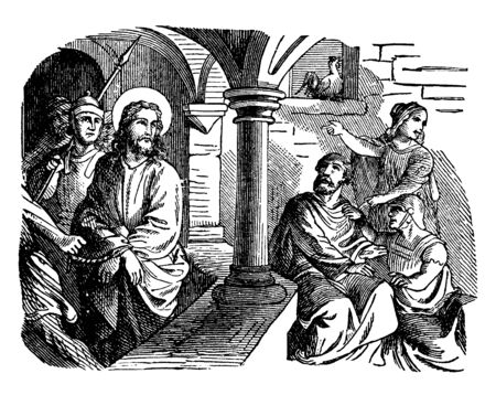 An illustration of Peter denying, Jesus, Soldiers and a woman. Peter sits in a courtyard and Jesus Looks at Peter in the Courtyard, with his hands bound by rope, being followed by soldiers, vintage line drawing or engraving illustration. Ilustração