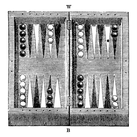 An illustration of Backgammon Table. This is a historical game, vintage line drawing or engraving illustration.