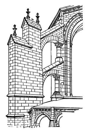 Frühgotische Flying Strebepfeiler, Bogenboutant, Kathedralenarchitektur, gotische Architektur, Halbbogen, Unterstützung, Vintage-Linienzeichnung oder Gravierillustration.