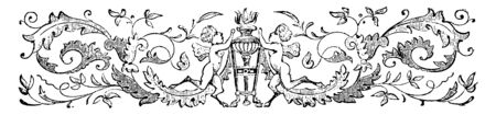 Cherubs and Torch have decorated with flowers and cherubs lighting a torch in this picture, vintage line drawing or engraving illustration.