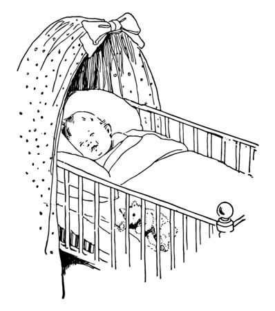 Baby in crib sleeping with a teddy bear, vintage line drawing or engraving illustration. Archivio Fotografico - 133022961