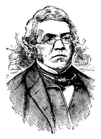 William M. Thackeray, 1811-1863, he was a British novelist, writer and author of the nineteenth century, famous for his satirical works, vintage line drawing or engraving illustration