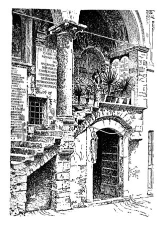 Stairs outside of a home with a door, inclined moving walkways, stationary inclined sidewalks, vintage line drawing or engraving illustration.